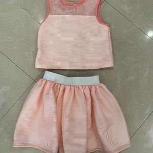 Stylish Pink/Peach Skirt Set size 7